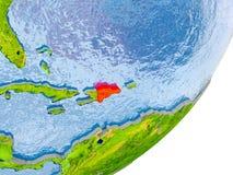 Mappa della Repubblica dominicana su terra Fotografie Stock Libere da Diritti