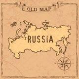 Mappa della Russia di vecchio stile illustrazione di stock