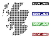 Mappa della Scozia in Dot Style con i bolli di titolo di lerciume illustrazione vettoriale