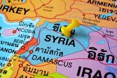 Mappa della Siria Fotografia Stock Libera da Diritti