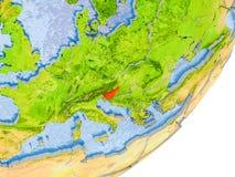 Mappa della Slovenia su terra Fotografia Stock Libera da Diritti