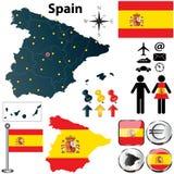 Mappa della Spagna Immagine Stock