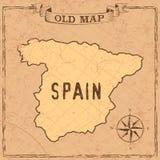 Mappa della Spagna di vecchio stile royalty illustrazione gratis