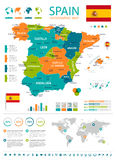 Mappa della Spagna - insieme infographic Immagini Stock