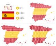 Mappa della Spagna in 3 stili Fotografia Stock