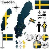 Mappa della Svezia con le regioni Immagini Stock