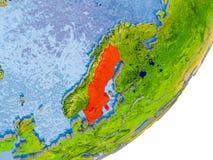 Mappa della Svezia su terra Immagine Stock