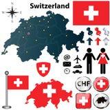 Mappa della Svizzera con le regioni Fotografia Stock Libera da Diritti