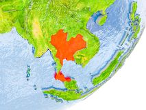 Mappa della Tailandia su terra Immagini Stock Libere da Diritti
