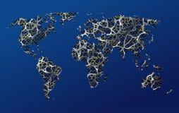 Mappa della terra, della comunicazione, della rete, delle strade o dell'astrazione Immagini Stock