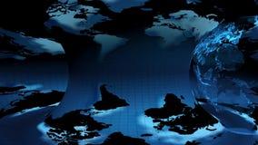 Mappa della terra rotante su un fondo blu royalty illustrazione gratis
