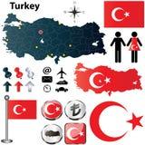 Mappa della Turchia Immagine Stock Libera da Diritti