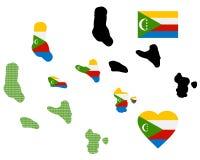 Mappa delle Comore Immagini Stock