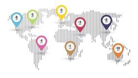Mappa delle fasce orarie del mondo royalty illustrazione gratis