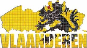 Mappa delle Fiandre con la bandiera dentro Fotografie Stock Libere da Diritti