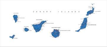 Mappa delle isole Canarie Fotografia Stock