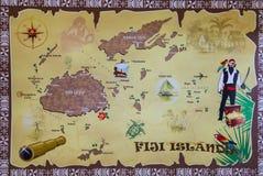 Mappa delle isole del Fijian fotografie stock libere da diritti