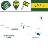 Mappa delle isole di società, Polinesia francese Immagini Stock