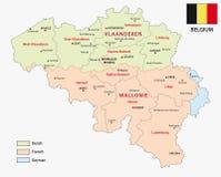 Mappa delle regioni e delle zone belghe di lingua illustrazione di stock