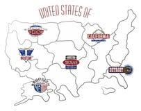 Mappa dello stato americano Immagine Stock