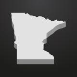 Mappa dello stato del Minnesota nel gray su un fondo nero 3d Fotografie Stock