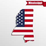 Mappa dello stato del Mississippi con la bandiera degli Stati Uniti interna ed il nastro illustrazione di stock