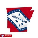 Mappa dello stato dell'Arkansas con la bandiera d'ondeggiamento dello stato USA illustrazione di stock
