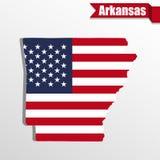 Mappa dello stato dell'Arkansas con la bandiera degli Stati Uniti interna ed il nastro Fotografia Stock Libera da Diritti