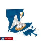 Mappa dello stato della Luisiana con la bandiera d'ondeggiamento dello stato USA illustrazione di stock