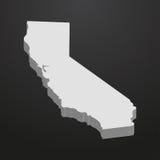 Mappa dello stato di California nel gray su un fondo nero 3d illustrazione vettoriale