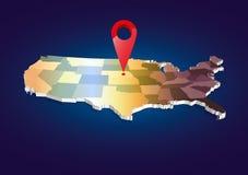 mappa dello stato di 3D U.S.A. Fotografie Stock Libere da Diritti