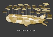 mappa dello stato di 3D U.S.A. Immagini Stock