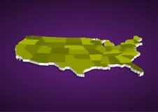 mappa dello stato di 3D U.S.A. Fotografia Stock Libera da Diritti