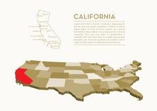 mappa dello stato di 3D U.S.A. - CALIFORNIA Fotografie Stock Libere da Diritti