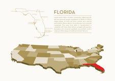 mappa dello stato di 3D U.S.A. - FLORIDA Fotografia Stock Libera da Diritti