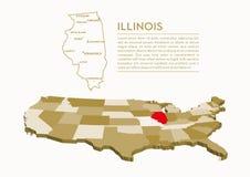 mappa dello stato di 3D U.S.A. - ILLINOIS Fotografia Stock Libera da Diritti
