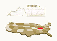 mappa dello stato di 3D U.S.A. - KENTUCKY Immagine Stock Libera da Diritti