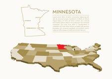 mappa dello stato di 3D U.S.A. - MINNESOTA Fotografie Stock Libere da Diritti