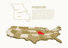 mappa dello stato di 3D U.S.A. - MISSOURI Immagini Stock Libere da Diritti