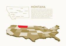mappa dello stato di 3D U.S.A. - Montana Immagine Stock Libera da Diritti