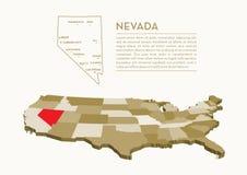 mappa dello stato di 3D U.S.A. - NEVADA Fotografie Stock Libere da Diritti