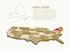 mappa dello stato di 3D U.S.A. - NEW YORK Fotografia Stock Libera da Diritti