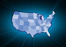 Mappa dello stato di U.S.A. Fotografia Stock Libera da Diritti