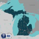 Mappa dello stato Michigan, U.S.A. Fotografie Stock Libere da Diritti