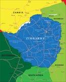 Mappa dello Zimbabwe Fotografie Stock