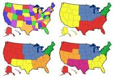 Quattro versioni della mappa regionale degli Stati Uniti Fotografia Stock
