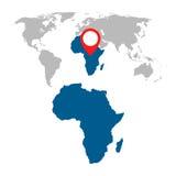 Mappa dettagliata insieme di navigazione di mappa di mondo e dell'Africa Fotografia Stock