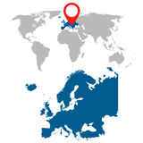 Mappa dettagliata insieme di navigazione di mappa di mondo e di Europa Fotografia Stock