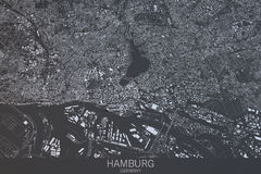 Mappa di Amburgo, vista satellite, città, Germania Fotografia Stock Libera da Diritti