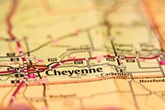 Mappa di area di Cheyenne Wyoming Fotografia Stock Libera da Diritti